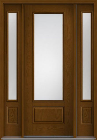 WDMA 58x96 Door (4ft10in by 8ft) Exterior Oak Clear 8ft 3/4 Lite 1 Panel Fiberglass Door 2 Sides 1