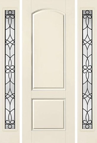 WDMA 58x96 Door (4ft10in by 8ft) Exterior Smooth 8ft 2 Panel Soft Arch Star Door 2 Sides Salinas Full Lite Flush 1