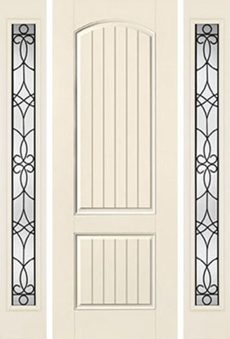 WDMA 58x96 Door (4ft10in by 8ft) Exterior Smooth 8ft 2 Panel Plank Soft Arch Star Door 2 Sides Salinas Full Lite Flush 1