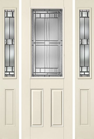 WDMA 58x96 Door (4ft10in by 8ft) Exterior Smooth SaratogaTM 8ft Half Lite 2 Panel Star Door 2 Sides 1