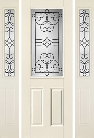 WDMA 58x96 Door (4ft10in by 8ft) Exterior Smooth Salinas 8ft Half Lite 2 Panel Star Door 2 Sides Full Lite 1
