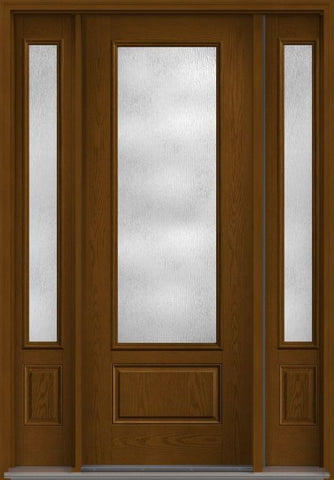 WDMA 58x96 Door (4ft10in by 8ft) French Oak Rainglass 8ft 3/4 Lite 1 Panel Fiberglass Exterior Door 2 Sides 1