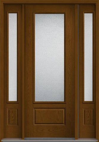 WDMA 58x96 Door (4ft10in by 8ft) Patio Oak Granite 8ft 3/4 Lite 1 Panel Fiberglass Exterior Door 2 Sides 1