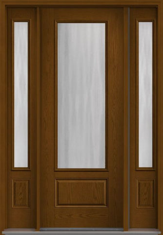 WDMA 58x96 Door (4ft10in by 8ft) Exterior Oak Chinchilla 8ft 3/4 Lite 1 Panel Fiberglass Door 2 Sides 1