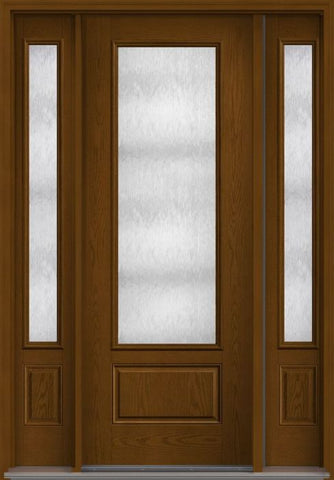 WDMA 58x96 Door (4ft10in by 8ft) French Oak Chord 8ft 3/4 Lite 1 Panel Fiberglass Exterior Door 2 Sides 1