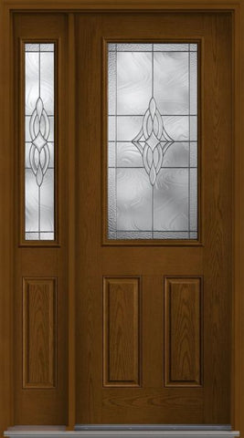 WDMA 58x96 Door (4ft10in by 8ft) Exterior Oak Wellesley 8ft Half Lite 2 Panel Fiberglass Door 2 Sides 1