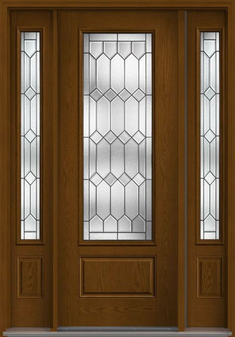 WDMA 58x96 Door (4ft10in by 8ft) Exterior Oak Crystalline 8ft 3/4 Lite 1 Panel Fiberglass Door 2 Sides 1