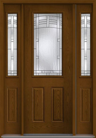 WDMA 58x96 Door (4ft10in by 8ft) Exterior Oak Maple Park 8ft Half Lite 2 Panel Fiberglass Door 2 Sides 1
