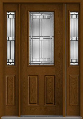 WDMA 58x96 Door (4ft10in by 8ft) Exterior Oak Saratoga 8ft Half Lite 2 Panel Fiberglass Door 2 Sides 1