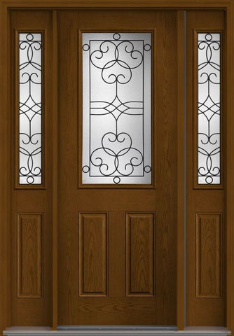 WDMA 58x96 Door (4ft10in by 8ft) Exterior Oak Salinas 8ft Half Lite 2 Panel Fiberglass Door 2 Sides 1