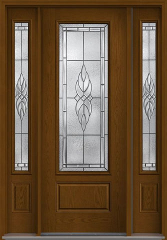 WDMA 58x96 Door (4ft10in by 8ft) Exterior Oak Kensington 8ft 3/4 Lite 1 Panel Fiberglass Door 2 Sides 1