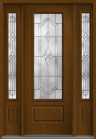 WDMA 58x96 Door (4ft10in by 8ft) Exterior Oak Concorde 8ft 3/4 Lite 1 Panel Fiberglass Door 2 Sides 1