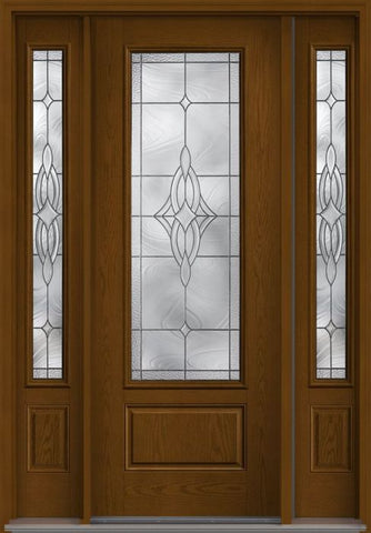 WDMA 58x96 Door (4ft10in by 8ft) Exterior Oak Wellesley 8ft 3/4 Lite 1 Panel Fiberglass Door 2 Sides 1