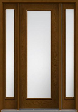 WDMA 58x96 Door (4ft10in by 8ft) Patio Oak Low-E 8ft Full Lite W/ Stile Lines Fiberglass Exterior Door 2 Sides 1
