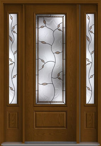 WDMA 58x96 Door (4ft10in by 8ft) Exterior Oak Avonlea 8ft 3/4 Lite 1 Panel Fiberglass Door 2 Sides 1