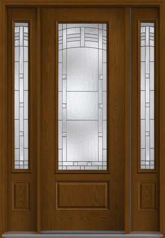 WDMA 58x96 Door (4ft10in by 8ft) Exterior Oak Maple Park 8ft 3/4 Lite 1 Panel Fiberglass Door 2 Sides 1