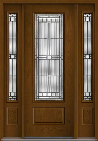 WDMA 58x96 Door (4ft10in by 8ft) Exterior Oak Saratoga 8ft 3/4 Lite 1 Panel Fiberglass Door 2 Sides 1