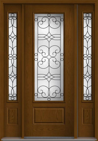 WDMA 58x96 Door (4ft10in by 8ft) Exterior Oak Salinas 8ft 3/4 Lite 1 Panel Fiberglass Door 2 Sides 1