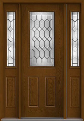 WDMA 58x96 Door (4ft10in by 8ft) Exterior Oak Crystalline 8ft Half Lite 2 Panel Fiberglass Door 2 Sides 1