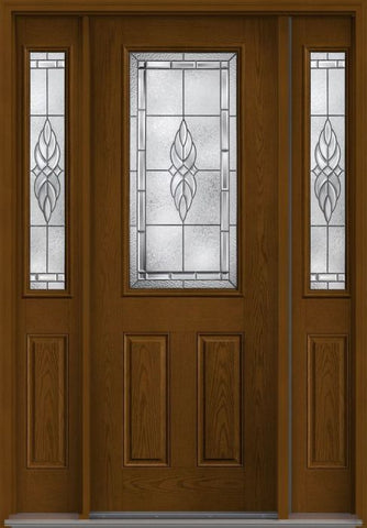 WDMA 58x96 Door (4ft10in by 8ft) Exterior Oak Kensington 8ft Half Lite 2 Panel Fiberglass Door 2 Sides 1