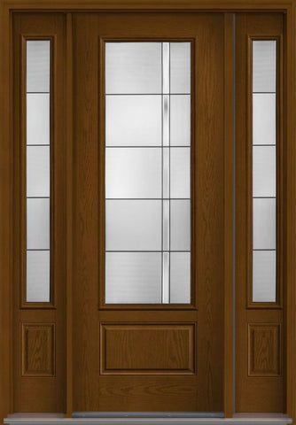 WDMA 58x96 Door (4ft10in by 8ft) Exterior Oak Axis 8ft 3/4 Lite 1 Panel Fiberglass Door 2 Sides 1