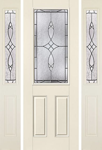 WDMA 58x96 Door (4ft10in by 8ft) Exterior Smooth Blackstone 8ft 1/2 Lite 2 Panel Star Door 2 Sides 1