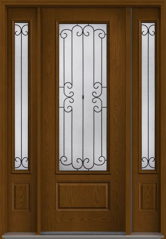 WDMA 58x96 Door (4ft10in by 8ft) Exterior Oak Riserva 8ft 3/4 Lite 1 Panel Fiberglass Door 2 Sides 1