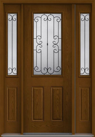 WDMA 58x96 Door (4ft10in by 8ft) Exterior Oak Riserva 8ft Half Lite 2 Panel Fiberglass Door 2 Sides 1