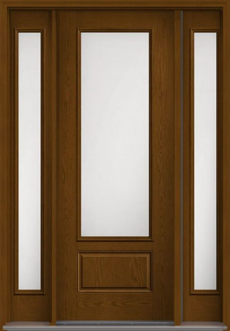 WDMA 58x96 Door (4ft10in by 8ft) Patio Oak Satin Etch 8ft 3/4 Lite 1 Panel Fiberglass Exterior Door 2 Sides HVHZ Impact 1