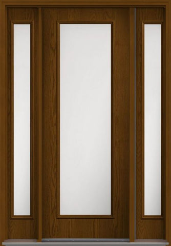 WDMA 58x96 Door (4ft10in by 8ft) Exterior Oak Satin Etch 8ft Full Lite Flush Fiberglass Door 2 Sides HVHZ Impact 1