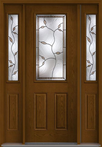 WDMA 58x96 Door (4ft10in by 8ft) Exterior Oak Avonlea 8ft Half Lite 2 Panel Fiberglass Door 2 Sides 1
