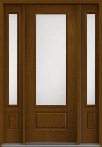 WDMA 58x96 Door (4ft10in by 8ft) Patio Oak Satin Etch 8ft 3/4 Lite 1 Panel Fiberglass Exterior Door 2 Sides 1