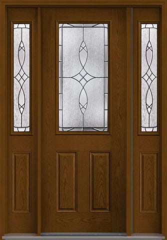 WDMA 58x96 Door (4ft10in by 8ft) Exterior Oak Blackstone 8ft Half Lite 2 Panel Fiberglass Door 2 Sides 1