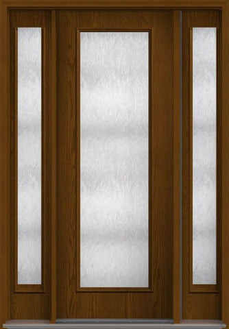WDMA 58x96 Door (4ft10in by 8ft) Exterior Oak Chord 8ft Full Lite Flush Fiberglass Door 2 Sides 1