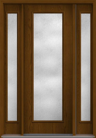 WDMA 58x96 Door (4ft10in by 8ft) French Oak Rainglass 8ft Full Lite Flush Fiberglass Exterior Door 2 Sides 1
