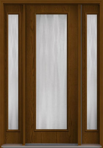 WDMA 58x96 Door (4ft10in by 8ft) Patio Oak Chinchilla 8ft Full Lite Flush Fiberglass Exterior Door 2 Sides 1