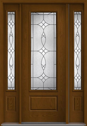 WDMA 58x96 Door (4ft10in by 8ft) Exterior Oak Blackstone 8ft 3/4 Lite 1 Panel Fiberglass Door 2 Sides 1
