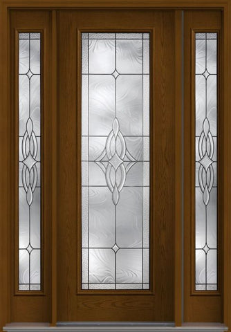 WDMA 58x96 Door (4ft10in by 8ft) Exterior Oak Wellesley 8ft Full Lite W/ Stile Lines Fiberglass Door 2 Sides 1