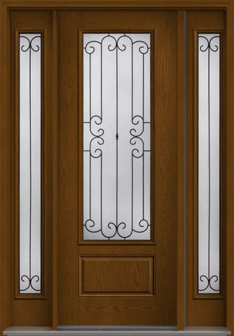 WDMA 58x96 Door (4ft10in by 8ft) Exterior Oak Riserva 8ft 3/4 Lite 1 Panel Fiberglass Door 2 Sides HVHZ Impact 1