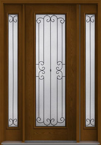 WDMA 58x96 Door (4ft10in by 8ft) Exterior Oak Riserva 8ft Full Lite W/ Stile Lines Fiberglass Door 2 Sides HVHZ Impact 1