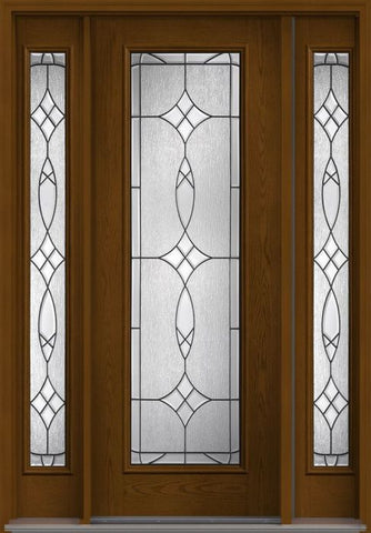 WDMA 58x96 Door (4ft10in by 8ft) Exterior Oak Blackstone 8ft Full Lite W/ Stile Lines Fiberglass Door 2 Sides 1