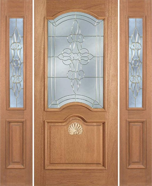 WDMA 60x80 Door (5ft by 6ft8in) Exterior Mahogany Franklin Single Door/2side w/ L Glass 1