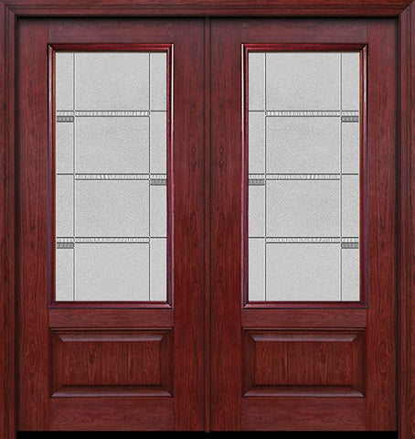 WDMA 60x80 Door (5ft by 6ft8in) Exterior Cherry 3/4 Lite 1 Panel Double Entry Door Crosswalk Glass 1