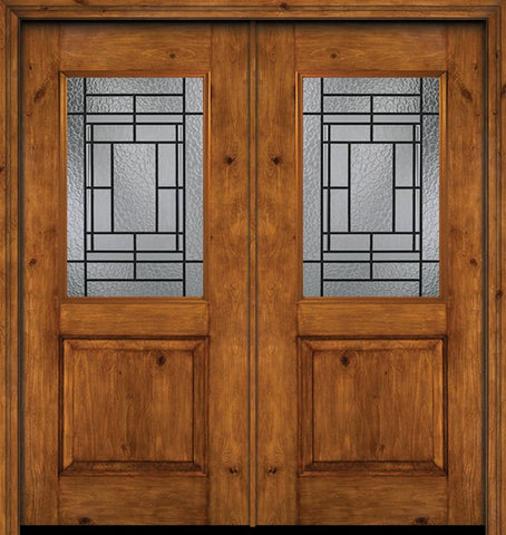 WDMA 60x80 Door (5ft by 6ft8in) Exterior Cherry Alder Rustic Plain Panel 1/2 Lite Double Entry Door Pembrook Glass 1