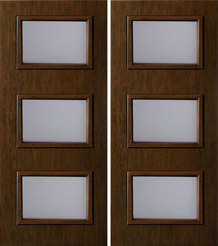 WDMA 60x80 Door (5ft by 6ft8in) Exterior Cherry Contemporary Three Lite Double Entry Door 1