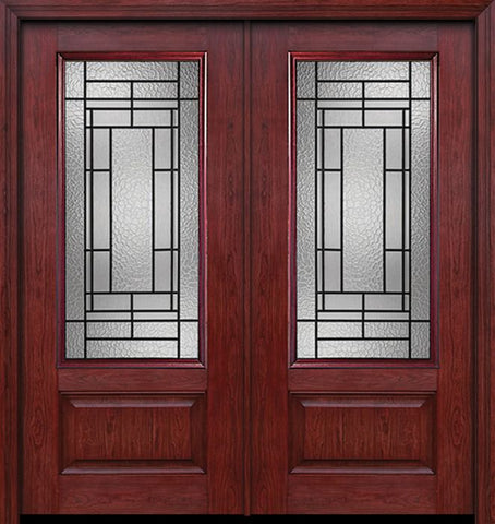 WDMA 60x80 Door (5ft by 6ft8in) Exterior Cherry 3/4 Lite 1 Panel Double Entry Door Pembrook Glass 1
