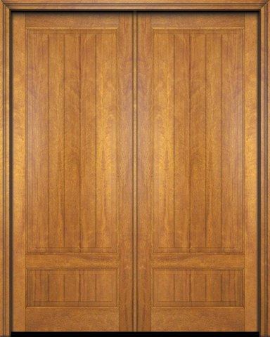 WDMA 60x80 Door (5ft by 6ft8in) Exterior Barn Mahogany 2 Panel V-Grooved Plank Rustic-Old World Home Style or Interior Double Door 1