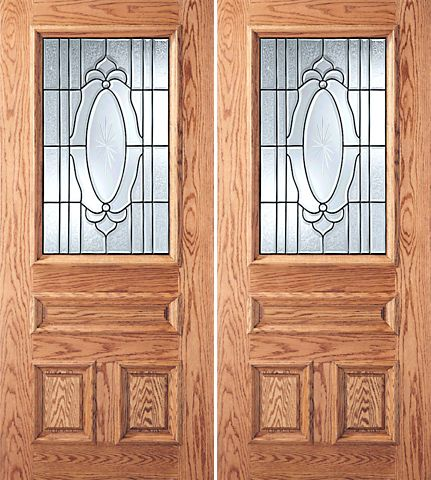 WDMA 60x80 Door (5ft by 6ft8in) Exterior Mahogany 3-Panel 1/2 Lite Front Double Door Crystal Etched Sunburst Glass 1