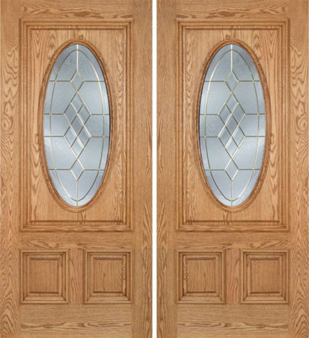 WDMA 60x80 Door (5ft by 6ft8in) Exterior Oak Watson Double Door w/ A Glass 1