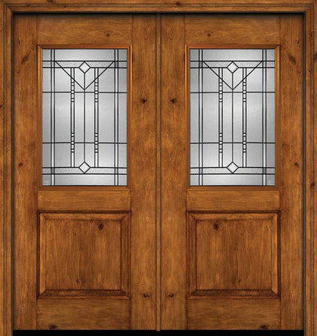 WDMA 60x80 Door (5ft by 6ft8in) Exterior Cherry Alder Rustic Plain Panel 1/2 Lite Double Entry Door Riverwood Glass 1
